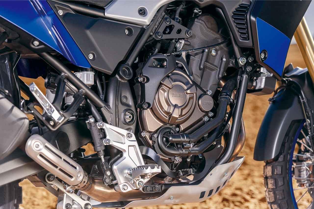 画像: 開発陣は、MT-07用のCP2エンジンがオフロードに向いていると確信していたらしい。いいエンジンにはトラコンはいらない、というのを体現できたのもこのエンジンのおかげと言う。