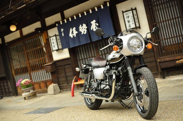 画像: W800カフェ/奈良井宿にて