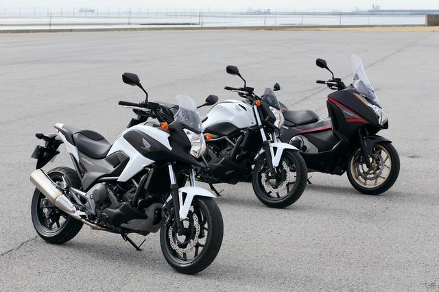 画像: 左:HONDA NC750X/ABS/DCT ABS 真ん中:HONDA NC750S/ABS/DCT ABS 右:HONDA INTEGRA/S