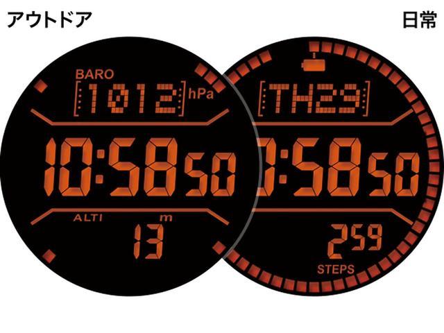 画像: モノクロ液晶モードでも方位計や気圧計、高度計などを表示するアウトドアモードと、時計や日にち、バッテリー残量を表示する日常モードから選べます。