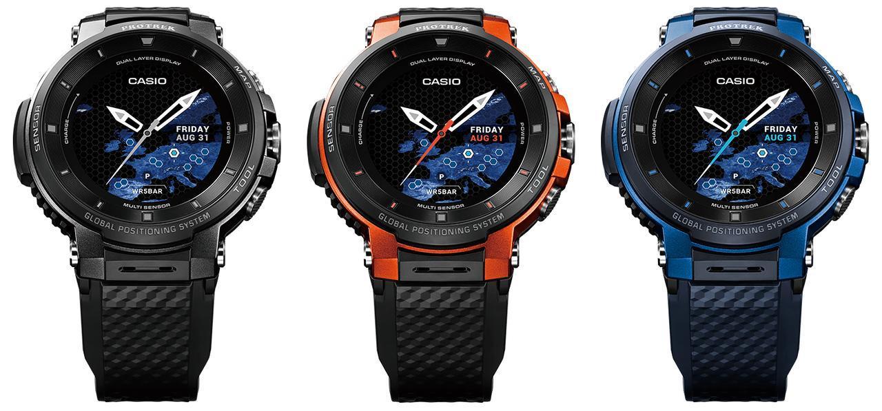 画像: 左からブラック(WSD-F30-BK)、オレンジ(WSD-F30-RG)、ブルー(WSD-F30-BU)の3色展開。アウトドアはもちろん、普段使いでも映えるデザインですね。いずれも価格は6万1000円(+税)