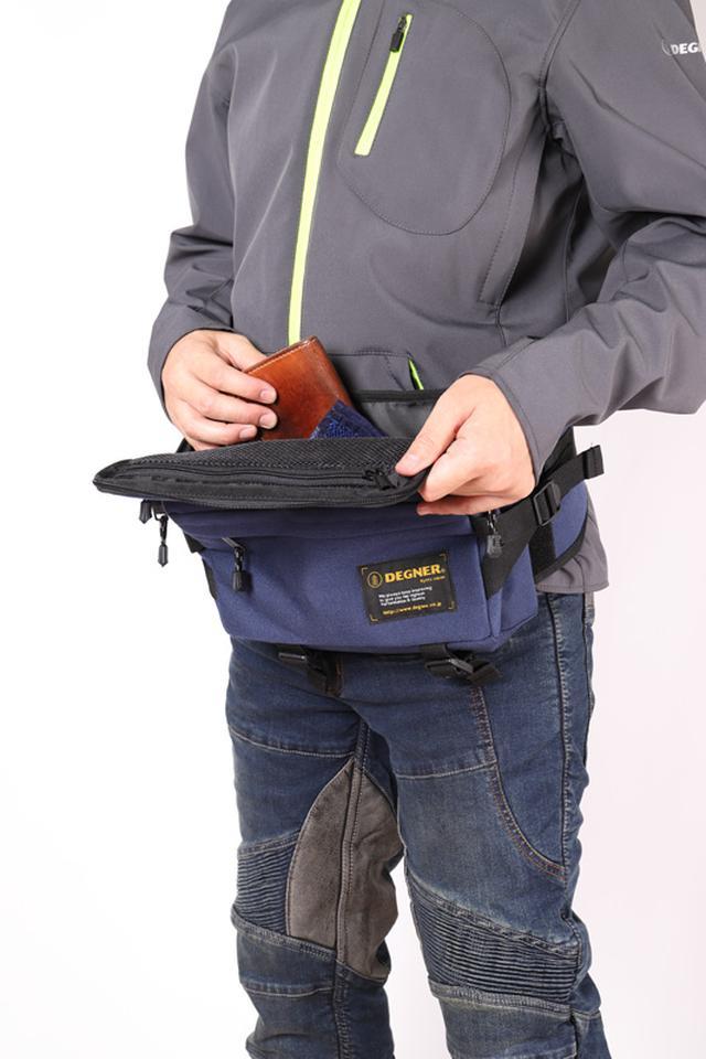 画像: 小物を携行するのに便利! バイクに乗らない日もおしゃれに使える、デグナー「ナイロンヒップバッグ NB-179」