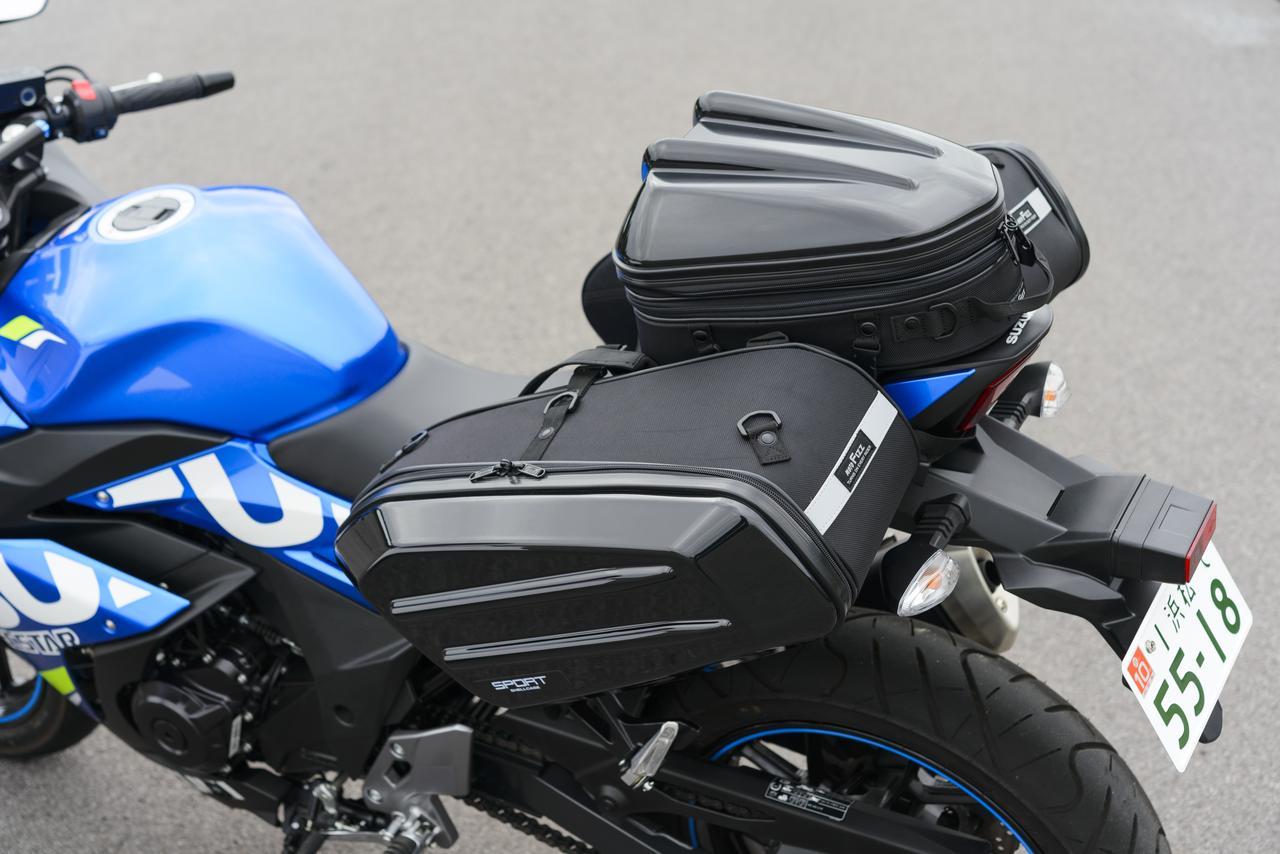 画像: シートバッグは「シェルシートバッグMT」(税抜12,500円)、サイドバッグは「スポルトシェルケース」(左右セット税抜35,000円)です。
