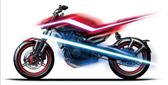 画像: これはデザインコンセプトである「ダブルデッキ・ストラクチャー」のイメージ図。メカ部分とボディパーツをくっきり分けることで、オートバイが持つ造形美とメカニカルな魅力を際立たせる狙いがある。