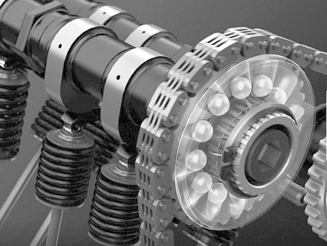 画像: スズキGSX-R1000RのVVTの模式図。向かって右、吸気側のカムシャフトを駆動するプーリー内部に配置されている金属ボールを使って、カムの回転を調整する機構だ。