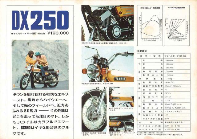 """画像: 当時のカタログでも""""都会派""""や""""スマート""""といった言葉で、先に発売された兄弟車RX350とともに、スポーツバイクの新しいデザインを前面に打ち出した広告が行われた。"""