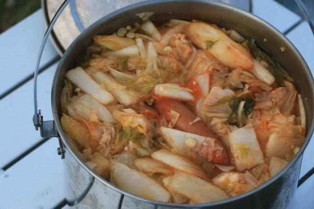 画像: カット野菜と肉類を放り込んだだけのワイルド鍋。「プチッと鍋」さまさまです。