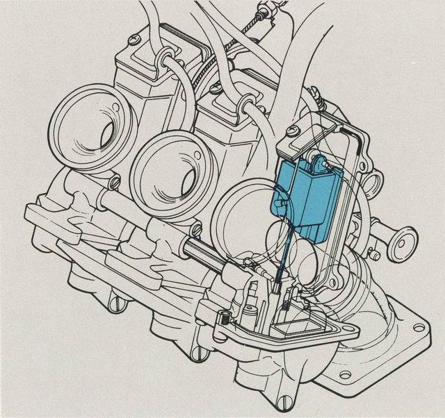 画像: キャブレターはVバンク間に3基を並べており、スライドバルブを角形にしたスクエアタイプとしてボディの全幅を縮小。3基ながら並列2気筒と同等な左右幅に抑えている。