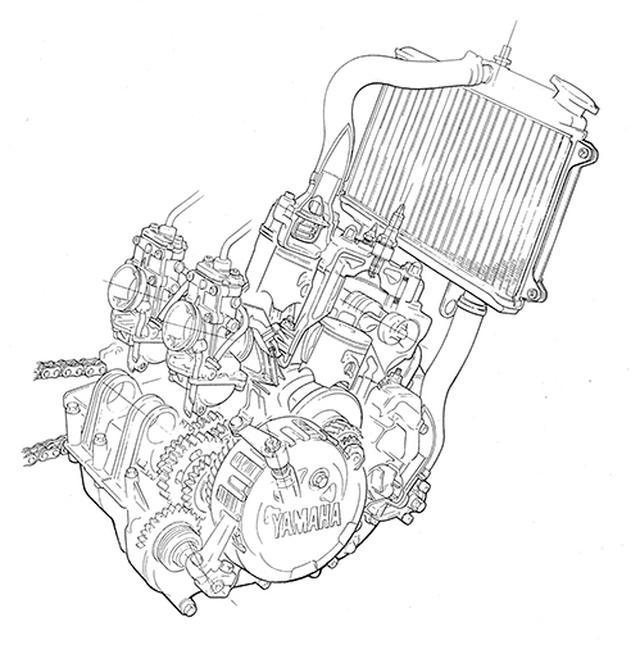 画像4: TZR250と同系の水冷並列2気筒をスチールフレームに積むオンオフ両用モデル