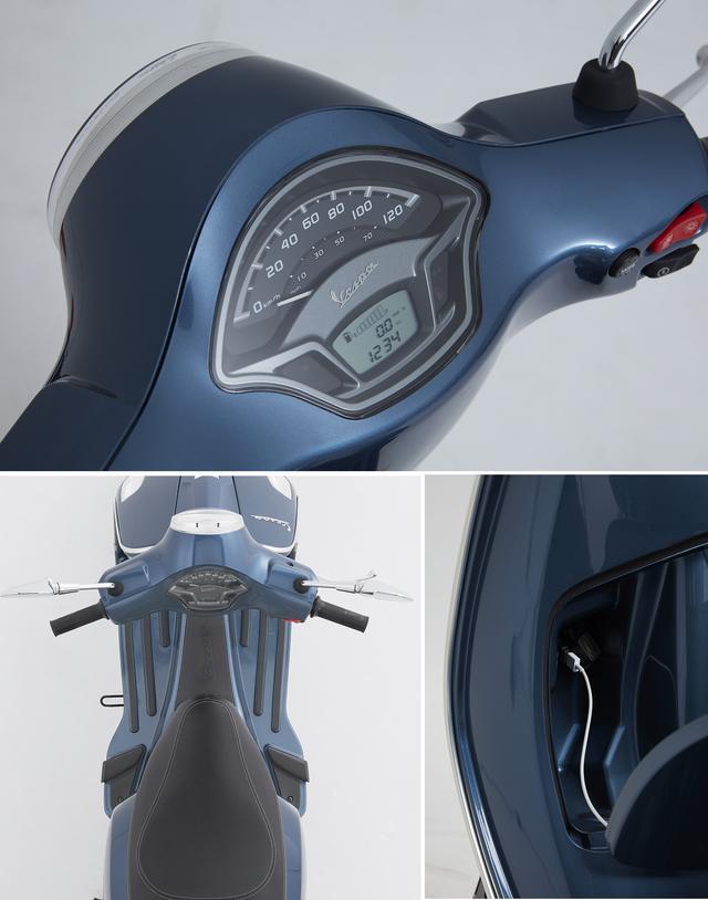 画像: アナログ・スピードメーター、燃料計と時計を表示する液晶ディスプレイ(上) USB充電ポート(下右) シートの形状が見直されるとともにフットレストの形状も変更された(下左)