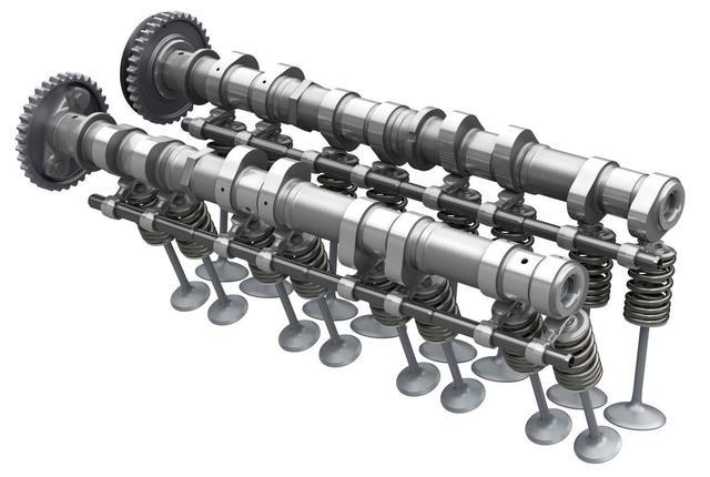 画像: スズキ「GSX-R1000R ABS」のバルブ駆動模式図。 カムシャフトの下でバルブを駆動するパーツがフィンガーフォロワー。人の指のような形に見えることからその名が来ている。