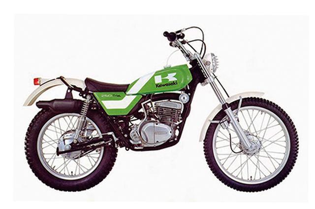 画像: 1975 250TX 1965年、1967年、1969年と3度、欧州選手権の王座に就いたイギリス人トライアラーであるドン・スミスと契約し、基本設計から造り上げたカワサキ唯一のトライアルマシーン。エンジンは250MXと同系のピストンバルブ単気筒。1975年から250TXと呼称して国内でも販売されたが、これは競技専用車であった。