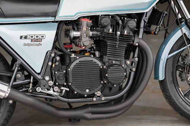 画像: エンジンはフルオーバーホールされ、ワイセコ製ピストンで若干のスープアップが施される。カムはZ1-RのSTDだがよく走るセットにした、