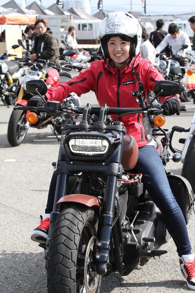 画像: お馴染み梅本まどかちゃんもイベントに参加。昨年も沢山試乗していました。月刊オートバイ・松下編集長とのトークショーも開催予定です!