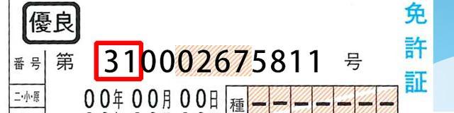 画像: 都道府県公安委員会番号に「31」はないので、この免許証番号は偽造であると判断できる。