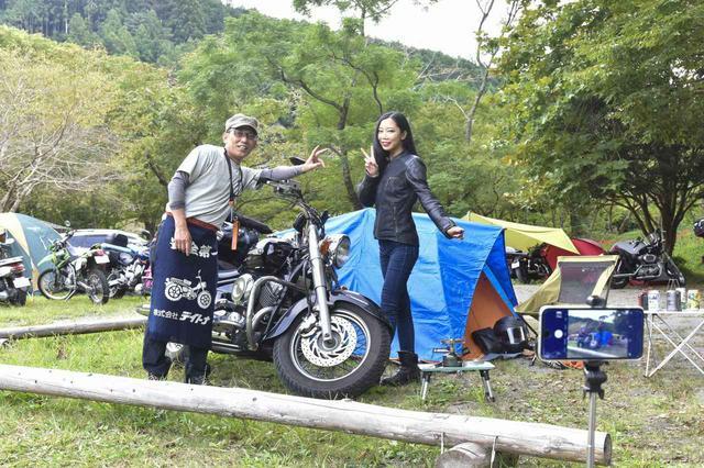 画像: テントを立て終わるころに織田社長の姿が! 早速呼び止めて一緒に記念撮影。