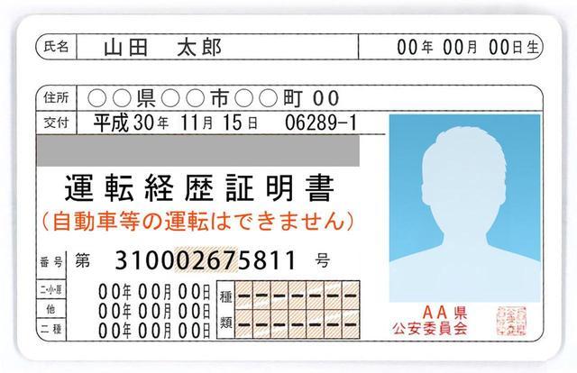 画像: 運転経歴証明書のカードサイズは免許証と同じ。