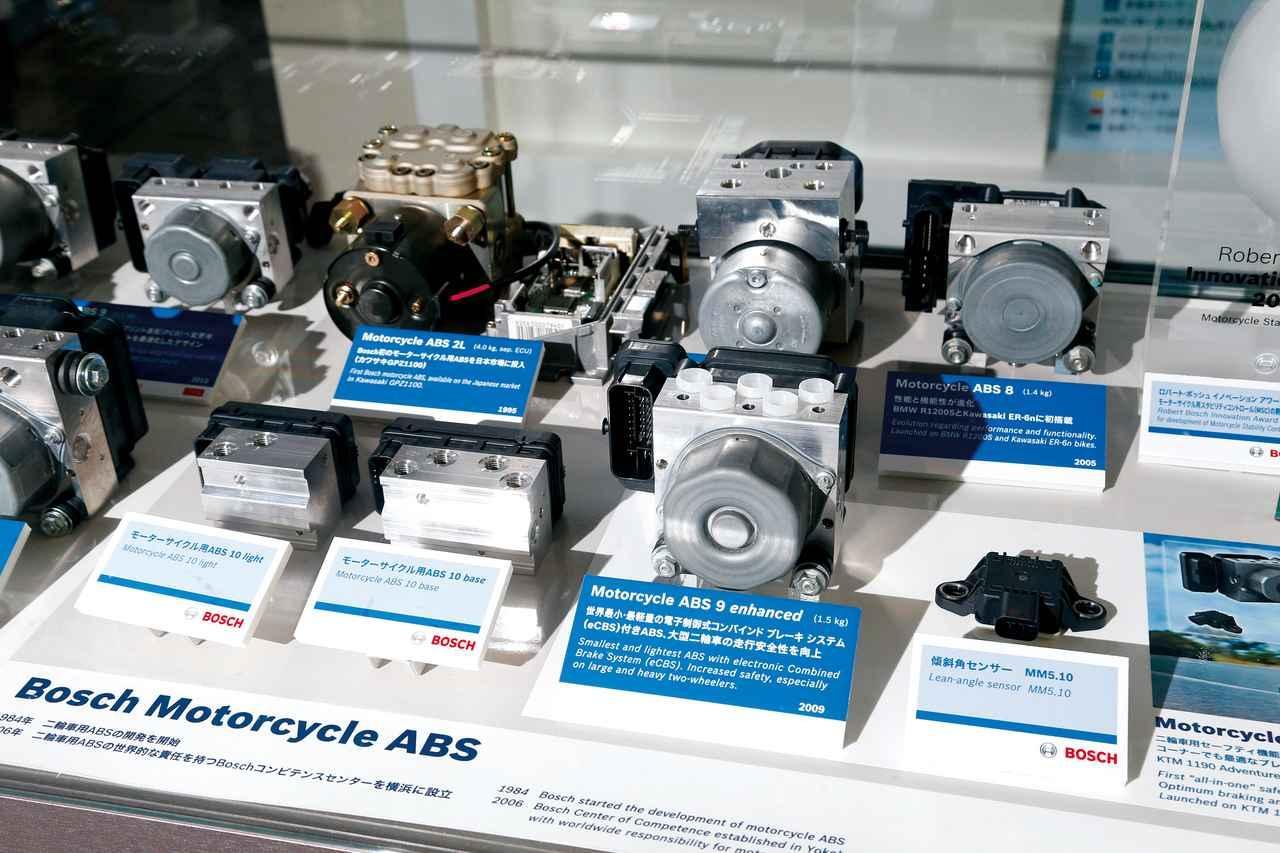 画像: ボッシュが作り上げてきたバイク用ABSの数々。同社が初めて日本市場に投入したのは、カワサキGPZ1100用だった。