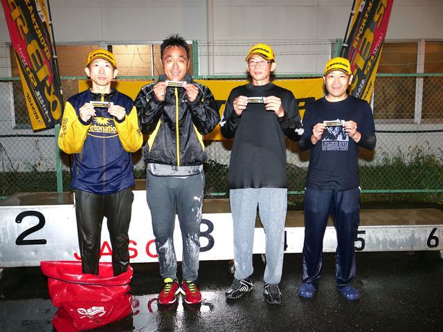 画像: 左から三崎雅也(B級→A級)、榎 明(B級→A級)、宮崎栄治(C2級→C1級)、金井 淳(NO級→C2級)