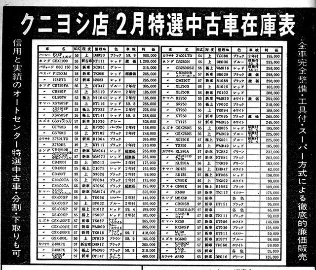 画像: 現在、途轍もない中古価格となっているZ2が不人気だったなんて信じられないという方は、上の月刊オートバイ1983年3月号の広告ページをご覧ください。74年式のZ2(程度・上)が車検2年付きで21万円。読者売買のコーナーでは15万円から車検付きのZ2があった。タマ数も多くなく、まさに「今さらZ2なんて」という時代。