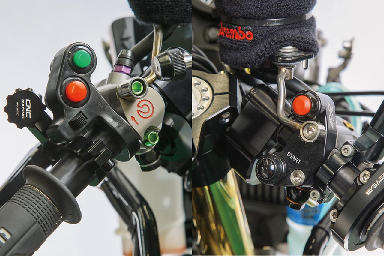 画像: 左右スイッチはハンドル切れ角確保のためノーマルのボックスタイプを使わず、コンパクトに収まるMotoGPタイプを装着した。