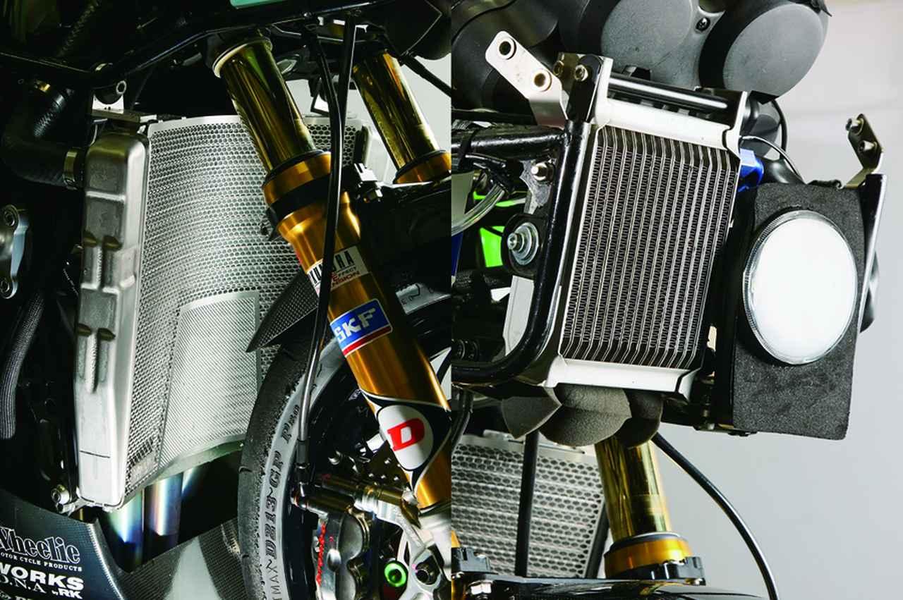 画像: ラジエーターを大型化した上でその下や前にオイルクーラーを付けることも多いニンジャ。折目さんも各種試し、このフロントライト部がベストという結論に。ラジエーターには冷却効果を最大にしつつコアをガードする新作ディバイディングラジエーターガードを装着。