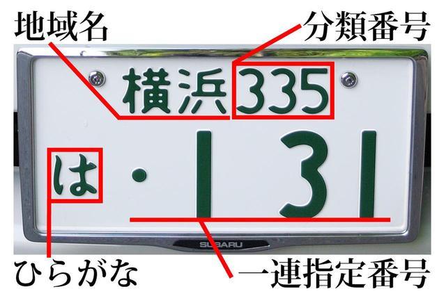 画像: 日本のナンバープレートは、地域名・分類番号・ひらがな・一連指定番号で構成される。