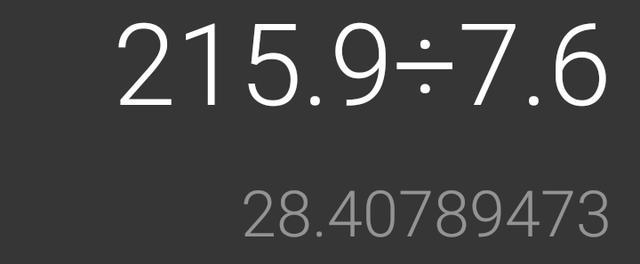画像: スマホの電卓で給油直後に算出した燃費。1回目は28km/L。