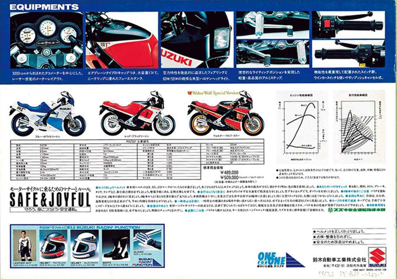 画像2: 【RG-Γ伝】Vol.3「外装も変化して並列2気筒最終モデルとなった5型」RG250Γ(GJ21B)-1987- 〜当時の貴重な資料で振り返る栄光のガンマ達〜