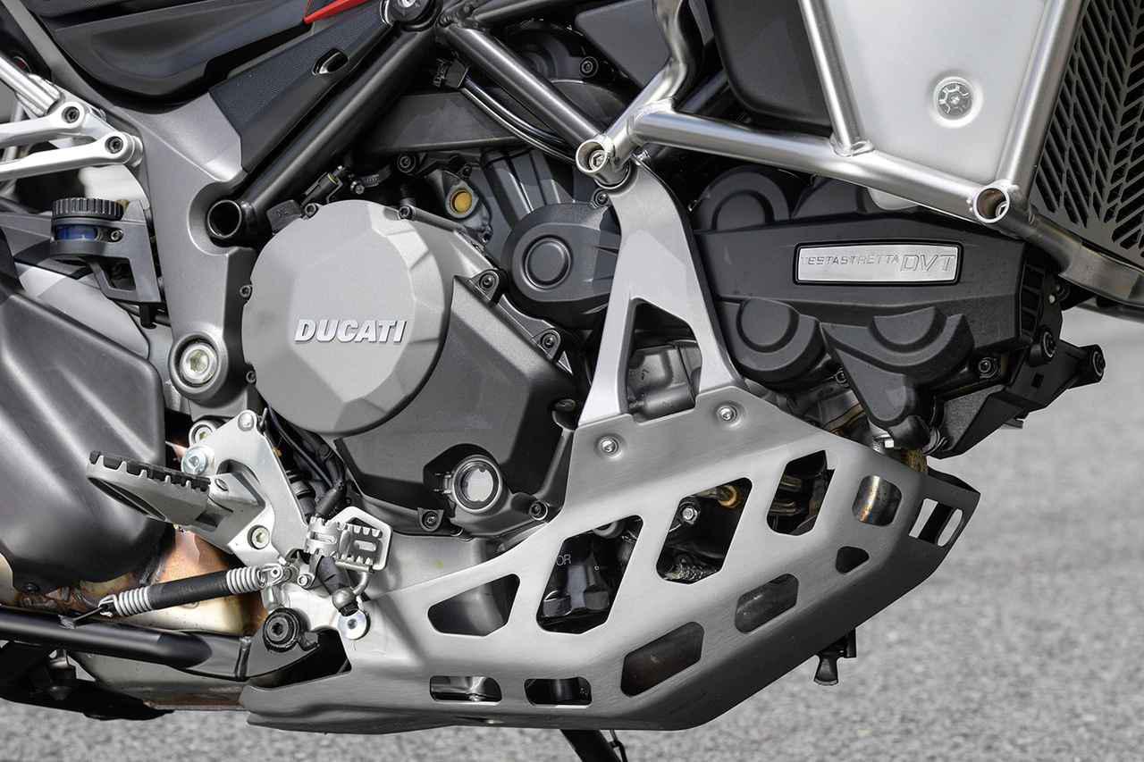 画像: 排気量アップにDVTを組み合わせ、3500rpmで最大トルクの85%を発揮するという低回転から力強いパワー特性を備えた、ムルティストラーダ1260シリーズ共通のテスタストレッタDVTエンジン。