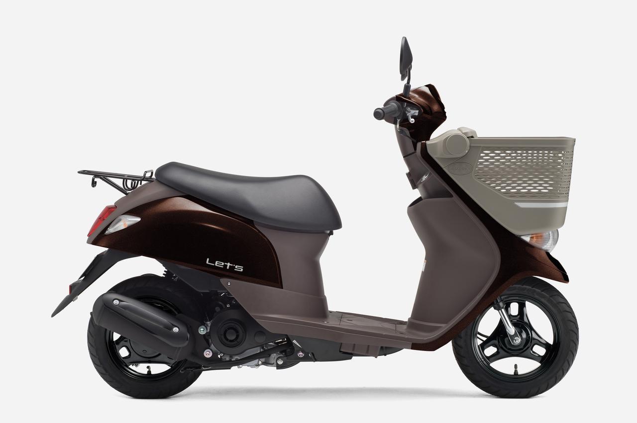 画像1: 前カゴを標準装備した積載性抜群の50ccスクーター、スズキ「レッツバスケット」の新色が登場