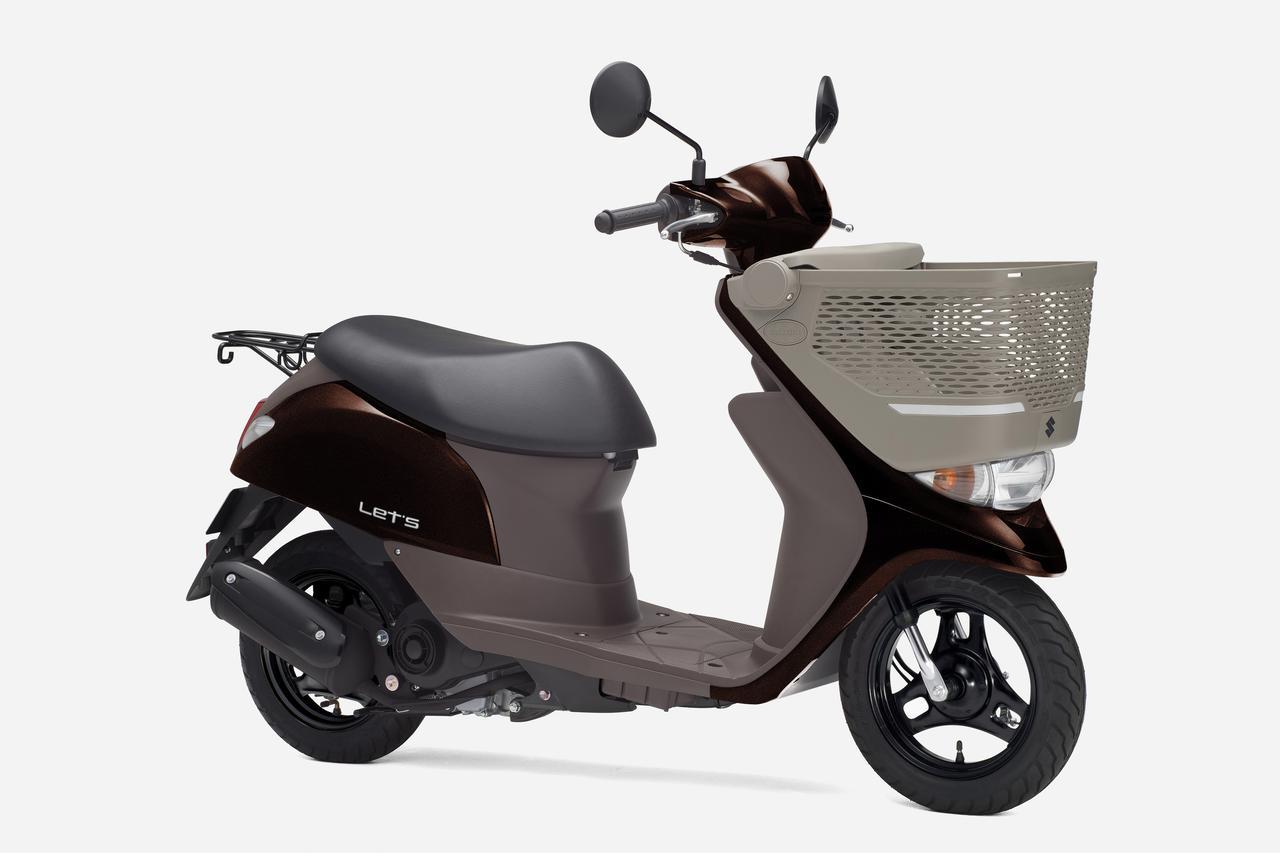 画像2: 前カゴを標準装備した積載性抜群の50ccスクーター、スズキ「レッツバスケット」の新色が登場