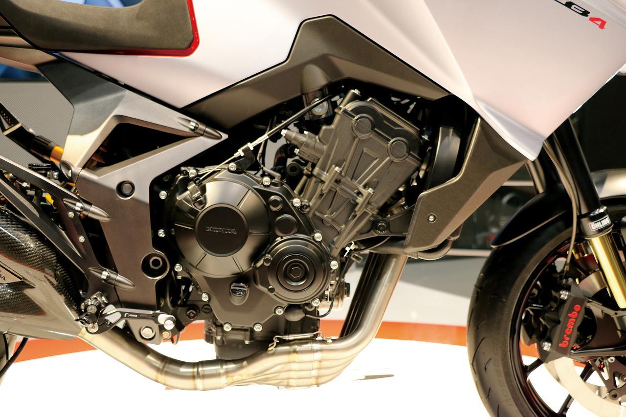 画像: 国内でも販売されているネイキッドスポーツ・CB650Rと同じ、パワフルさでも定評のある水冷直4エンジンが搭載されていた。