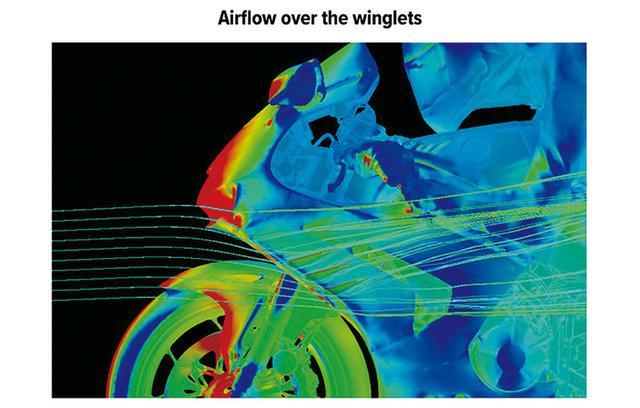 画像: これはダクトウイング側面の空気の流れを示したもの。周辺の空気の流れが見える。