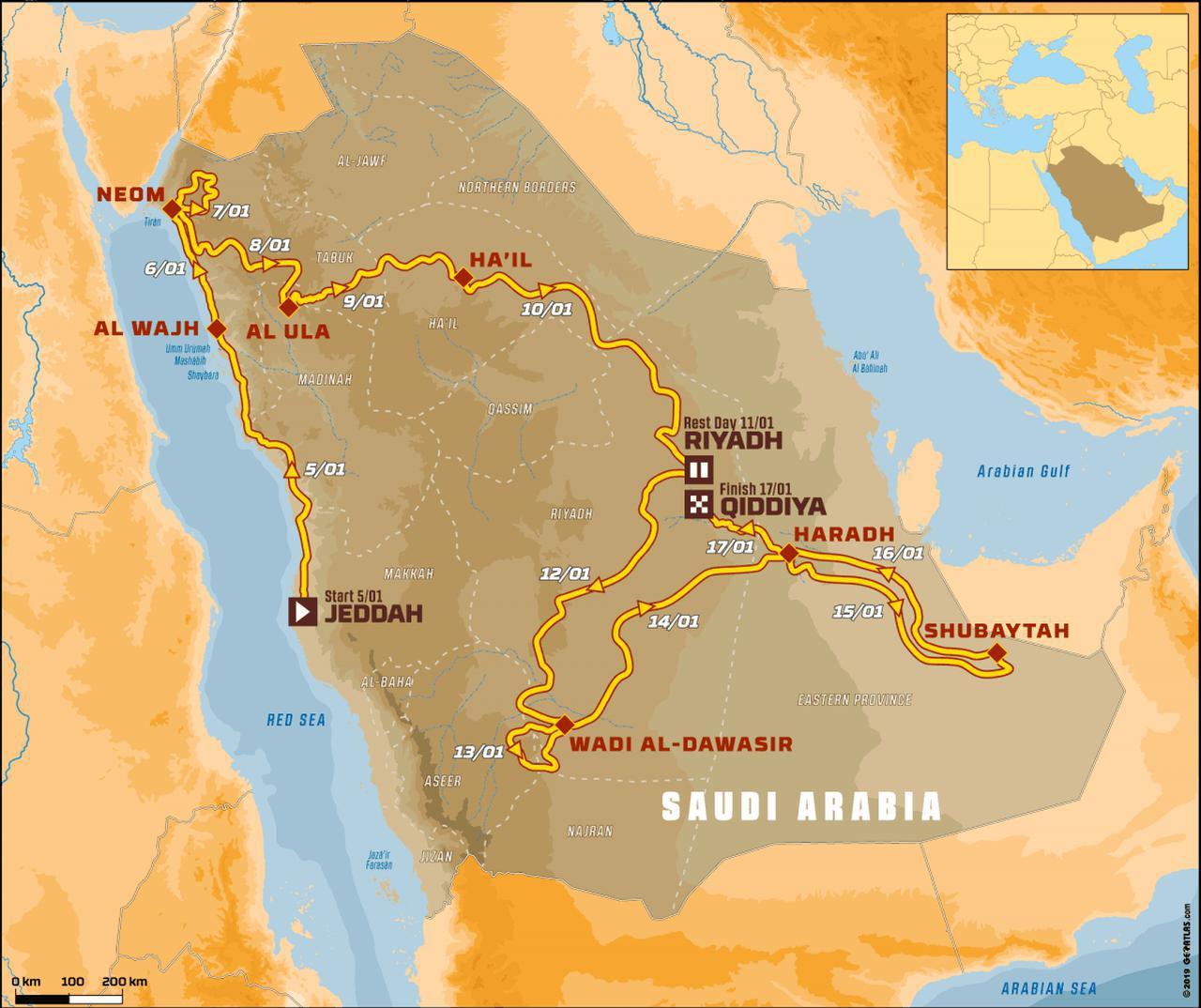 画像: 2020年ダカールラリー「サウジアラビア」のコース図