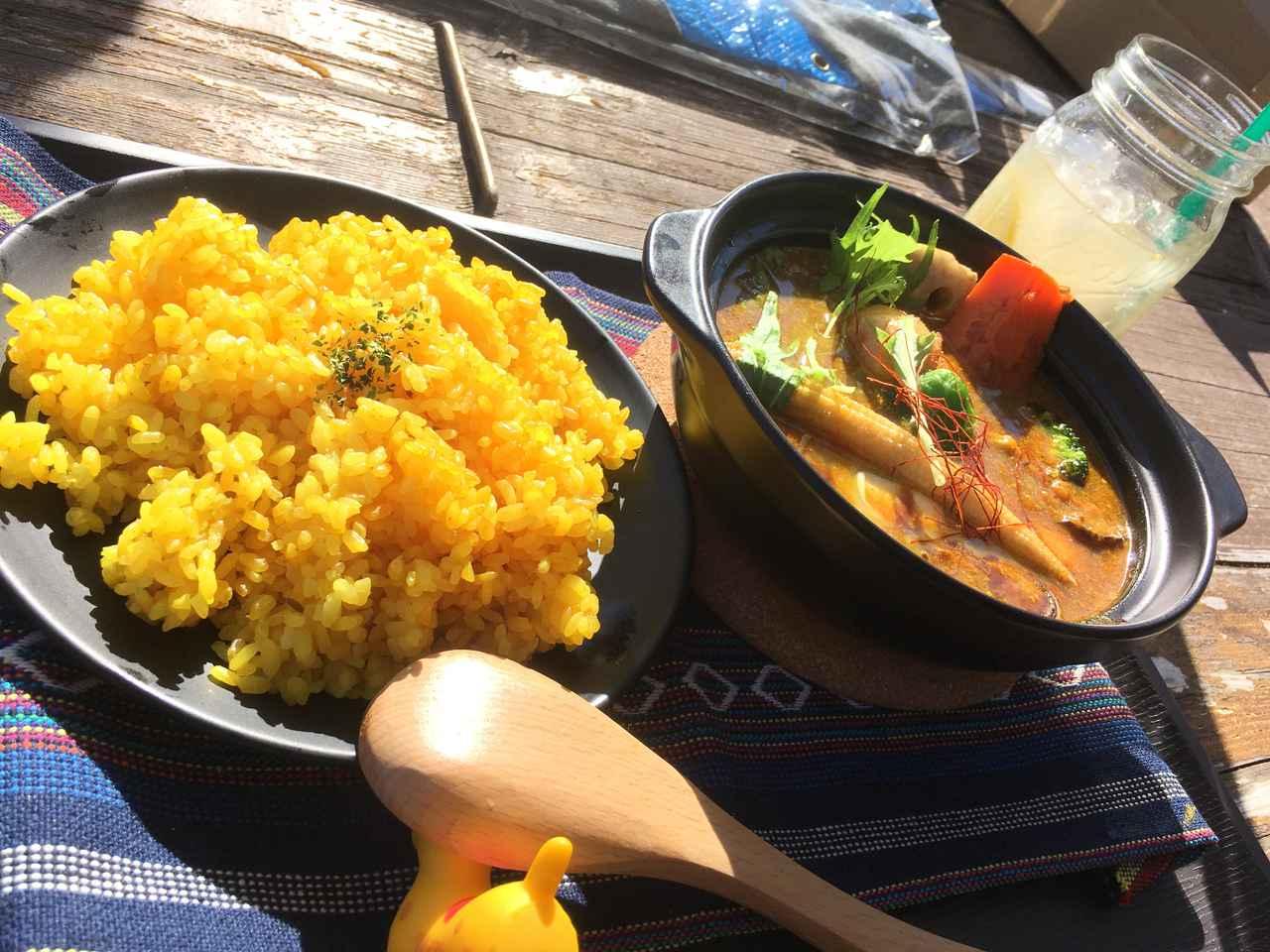 画像: カレー好きの僕ですが、スープカレーって初めて食べた! かぼちゃ、ニンジン、ジャガイモ、オクラがゴロゴロが入ってて美味しかった~