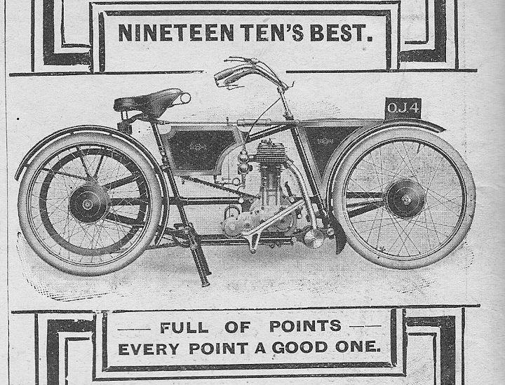 画像: 1910年、英国のザ・モーターサイクル・マガジンに掲載された、ジェームスの広告。前後片持ちサスペンションという、後のモト・エルフをイメージさせる斬新なデザインでした。 en.wikipedia.org