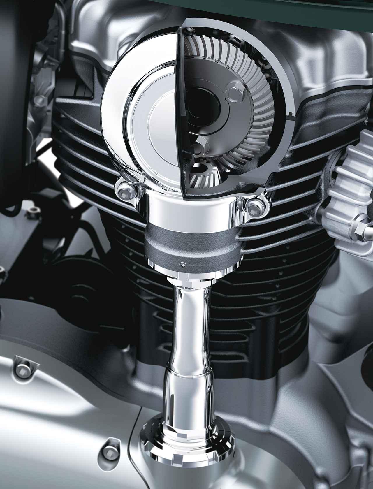 画像: W650から受け継がれるベベルギア駆動のSOHC4バルブヘッドを採用。ロングストローク設定で低中回転域のパワーを重視。