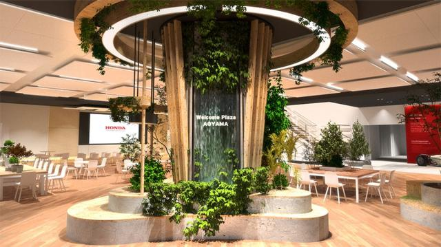 画像: メインエントランスには「ワイガヤの木」。「再び訪れたくなる場」をコンセプトに、ウッドとグリーンを多く取り入れ、親しみやすく居心地のいい空間を目指して作られました。