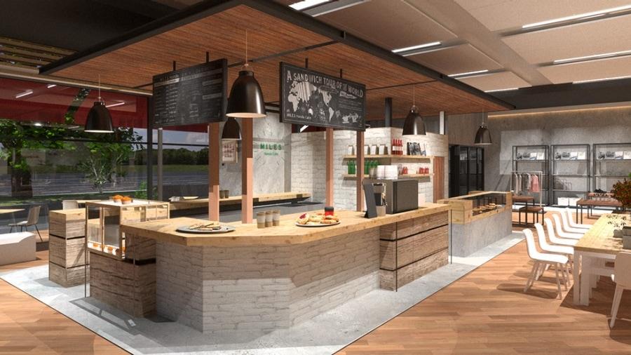 画像: MILES Honda Cafe(マイルズ ホンダ カフェ) より立ち寄りやすく、憩えるカフェを目指して空間設計。世界各国のF1開催地にちなんだサンドイッチや、「宗一郎の水」を使って入れたオリジナルコーヒーなど、ホンダならではのメニューが並ぶ予定。