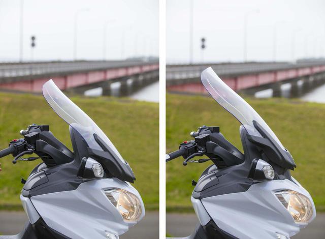 画像: スクリーンは右ハンドルスイッチで上下95㎜幅で無段階に高さを調整できる。スピード域や小雨が降って来たときなど、電動スクリーンの便利さを実感できる。