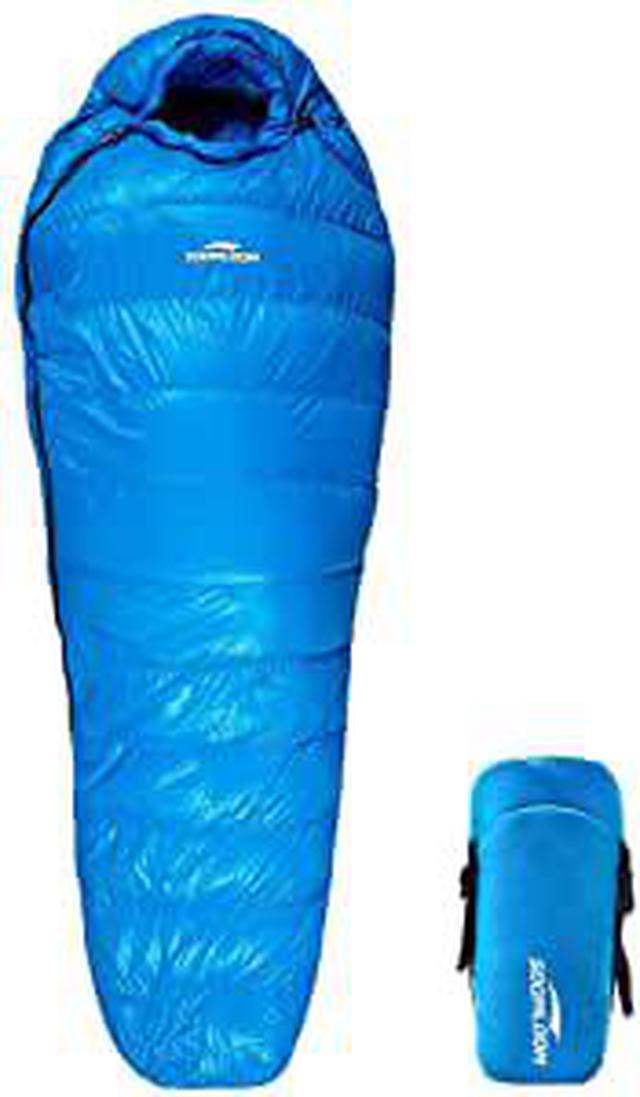 画像: Amazon | Soomloom マミー型 高級ダウン650FP寝袋 登山 シュラフ/キャンプ アウトドア 防災用 避難用 防水 (ブルー, 羽毛量400g) | Soomloom | 寝袋・シュラフ