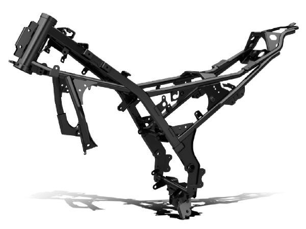 画像: 最適なねじり剛性と軽さを兼ね備え、高い安定性と、コーナリングでの軽快な操作性を両立させたGSX-R125 ABSのダイヤモンドフレーム。装備重量は134kgと軽量で、785mmのシート高は日常での取り回しのしやすさと、良好な足つき性を実現しています。