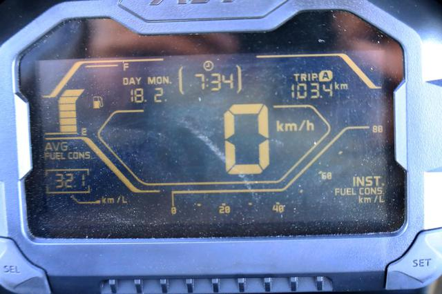 画像: 給油の直前に撮ったメーター。こちらでは平均燃費は32.1km/Lと表示。 メーター拭けばよかったあああ