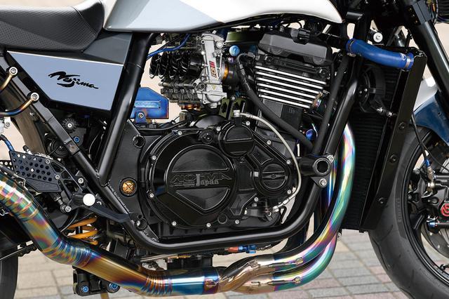 画像: フレームは右ダウンチューブも一体化しモノサスとしたノジマNJ1。「ループも詰めてあってエンジン搭載は知恵の輪でした」と中川さんは言う。