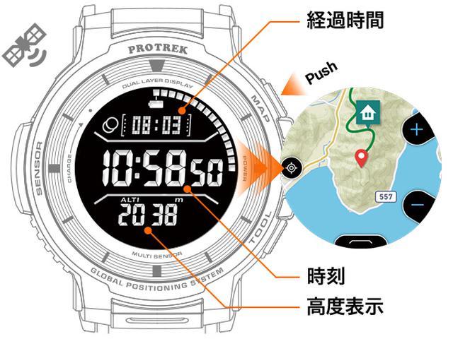 画像: 時計にGPS機能が内蔵されているので電波のない場所でも使用できる