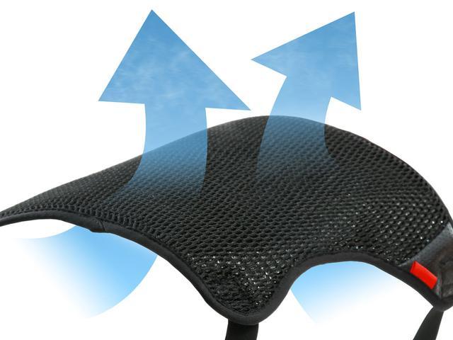 画像: 潰しても元に戻る高い復元力と通気性をもつ3Dメッシュを採用。股下の熱気を走行風で排出。