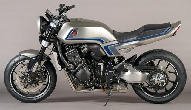 画像: バイクの上半分を見ると往年のCB750Fのようだが、下半分だけを見るとまさに最新のスポーツバイク。時代を超えたミックスが面白い。