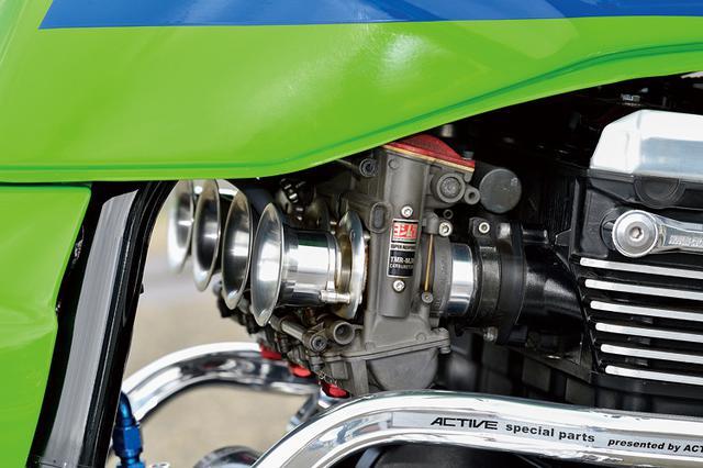 画像: 吸排気はTMRφ38mm-MJNにノジマ製エキパイ+オオニシサイレンサーを組み合わせる。ラジエーターはしゃぼん玉、オイルクーラーはアクティブ製だ。