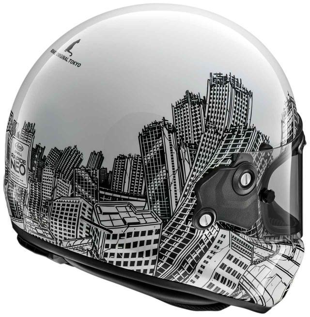 画像1: ネオクラ・フルフェイス「ラパイド・ネオ」に絶妙マッチしたビル群のアート